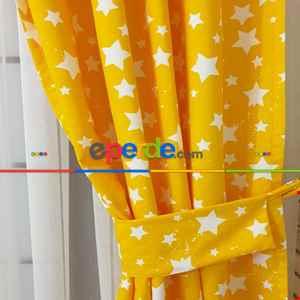 Yıldız Desenli Fon Perde Evm685-5 Kumaşı Kalındır Duck Bezi Değildir- Sarı-Beyaz