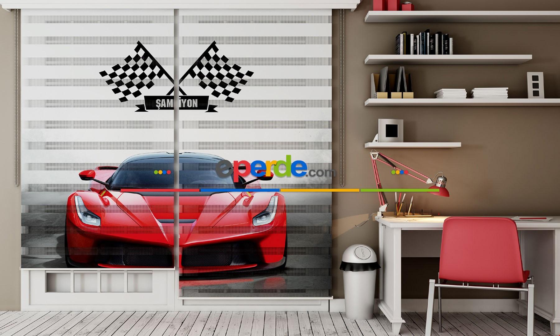 Çocuk Odası Kırmızı Ferrari- Baskılı Zebra Stor Perde