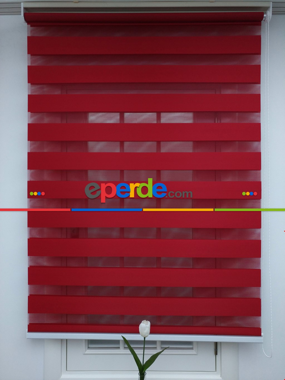 Zebra Perde-tual Kırmızı Renk Düz Zebra Perde Kırmızı