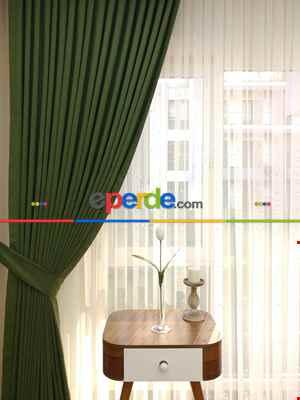 Salon - Çimen Yeşili - Düz Fon Perde ( En 150cm Dökümlü Fon Perde)- Yeşil Koyu Yeşil