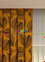 Blackout Kumaştan Açık Gri Yaprak Desenli Baskılı Fon Perde Geniş En 1. Kalite Sarı