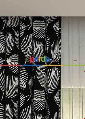 Siyah Yaprak Desenli Baskılı Fon Perde Geniş En 1. Kalite Çok Dökümlü