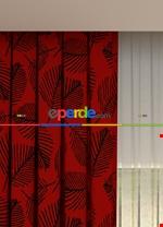 Blackout Kumaştan Açık Gri Yaprak Desenli Baskılı Fon Perde Geniş En 1. Kalite Siyah - Kırmızı