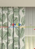 Blackout Kumaştan Açık Gri Yaprak Desenli Baskılı Fon Perde Geniş En 1. Kalite Yeşil