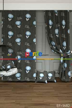 Sevimli Hayvanlar Uçan Balon İçinde Fare Desenli Geniş Fon Perde 1. Kalite Çok Dökümlü