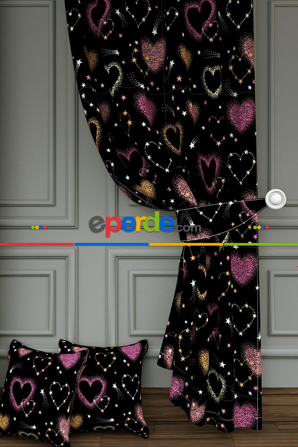 Siyah Pembe Kalp Desenli Baskılı Fon Perde - Dökümlü Ve Yumuşak Ağır Bir Kumaştır