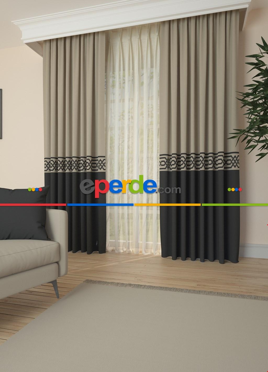 Bej Antrasit Bordürlü Pano Fon Perde Baskılı 1. Kalite Çok Dökümlü - Salon - Yatak Odası - Oturma Odası