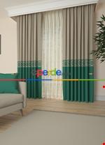 Gri Bordürlü Pano Fon Perde 1. Kalite Çok Dökümlü - Salon - Yatak Odası - Oturma Odası Yeşil - Krem