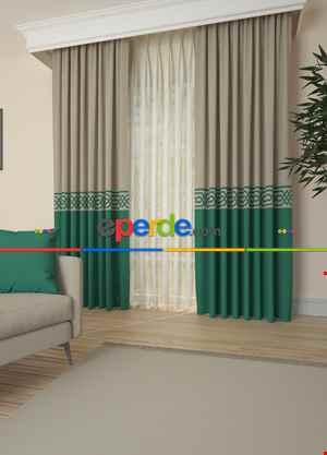 Bej Yeşil Bordürlü Pano Fon Perde Baskılı 1. Kalite Çok Dökümlü - Salon - Yatak Odası - Oturma Odası