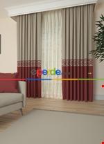 Gri Bordürlü Pano Fon Perde 1. Kalite Çok Dökümlü - Salon - Yatak Odası - Oturma Odası Krem - Bordo