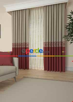 Bej Açık Bordo Bordürlü Pano Fon Perde 1. Kalite Çok Dökümlü - Salon - Yatak Odası - Oturma Odası