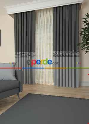Gri Bordürlü Pano Fon Perde 1. Kalite Çok Dökümlü - Salon - Yatak Odası - Oturma Odası