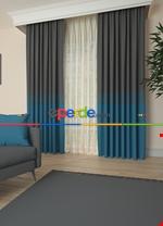 Gri Bordürlü Pano Fon Perde 1. Kalite Çok Dökümlü - Salon - Yatak Odası - Oturma Odası Mavi - Gri Füme Antrasit