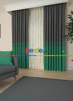 Gri Bordürlü Pano Fon Perde 1. Kalite Çok Dökümlü - Salon - Yatak Odası - Oturma Odası Yeşil - Gri Füme Antrasit