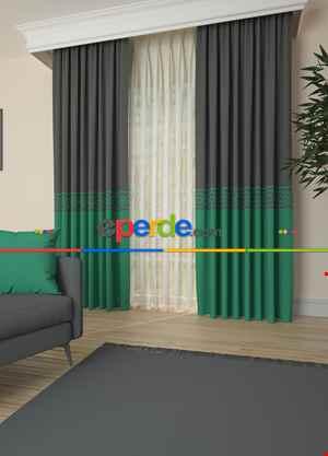 Gri Yeşil Bordürlü Pano Fon Perde 1. Kalite Çok Dökümlü - Salon - Yatak Odası - Oturma Odası