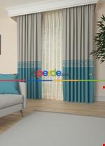 Gri Bordürlü Pano Fon Perde 1. Kalite Çok Dökümlü - Salon - Yatak Odası - Oturma Odası Krem - Turkuaz