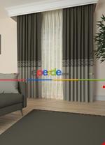 Gri Bordürlü Pano Fon Perde 1. Kalite Çok Dökümlü - Salon - Yatak Odası - Oturma Odası Gri Füme Antrasit