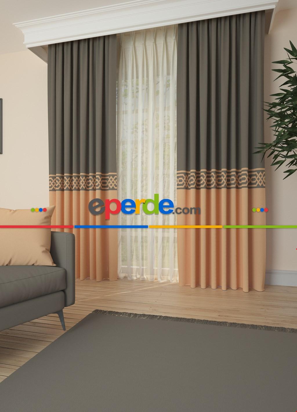 Somon Bordürlü Pano Fon Perde 1. Kalite Çok Dökümlü - Salon - Yatak Odası - Oturma Odası