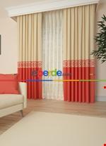 Gri Bordürlü Pano Fon Perde 1. Kalite Çok Dökümlü - Salon - Yatak Odası - Oturma Odası Kırmızı - Krem