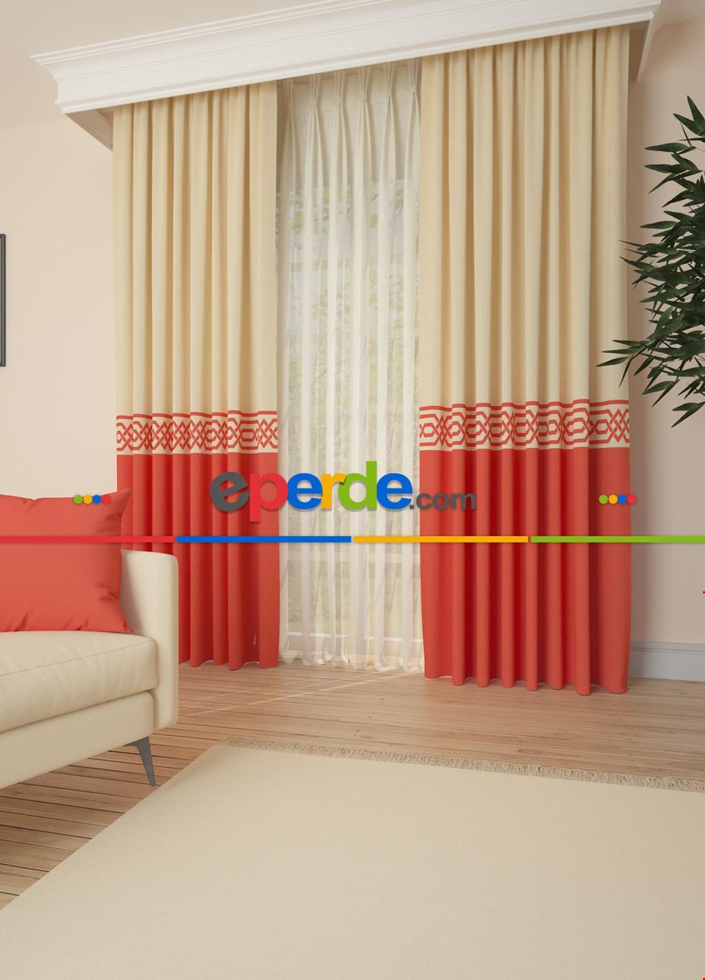 Krem Mercan Kırmızısı Bordürlü Pano Fon Perde 1. Kalite Çok Dökümlü - Salon - Yatak Odası - Oturma Odası