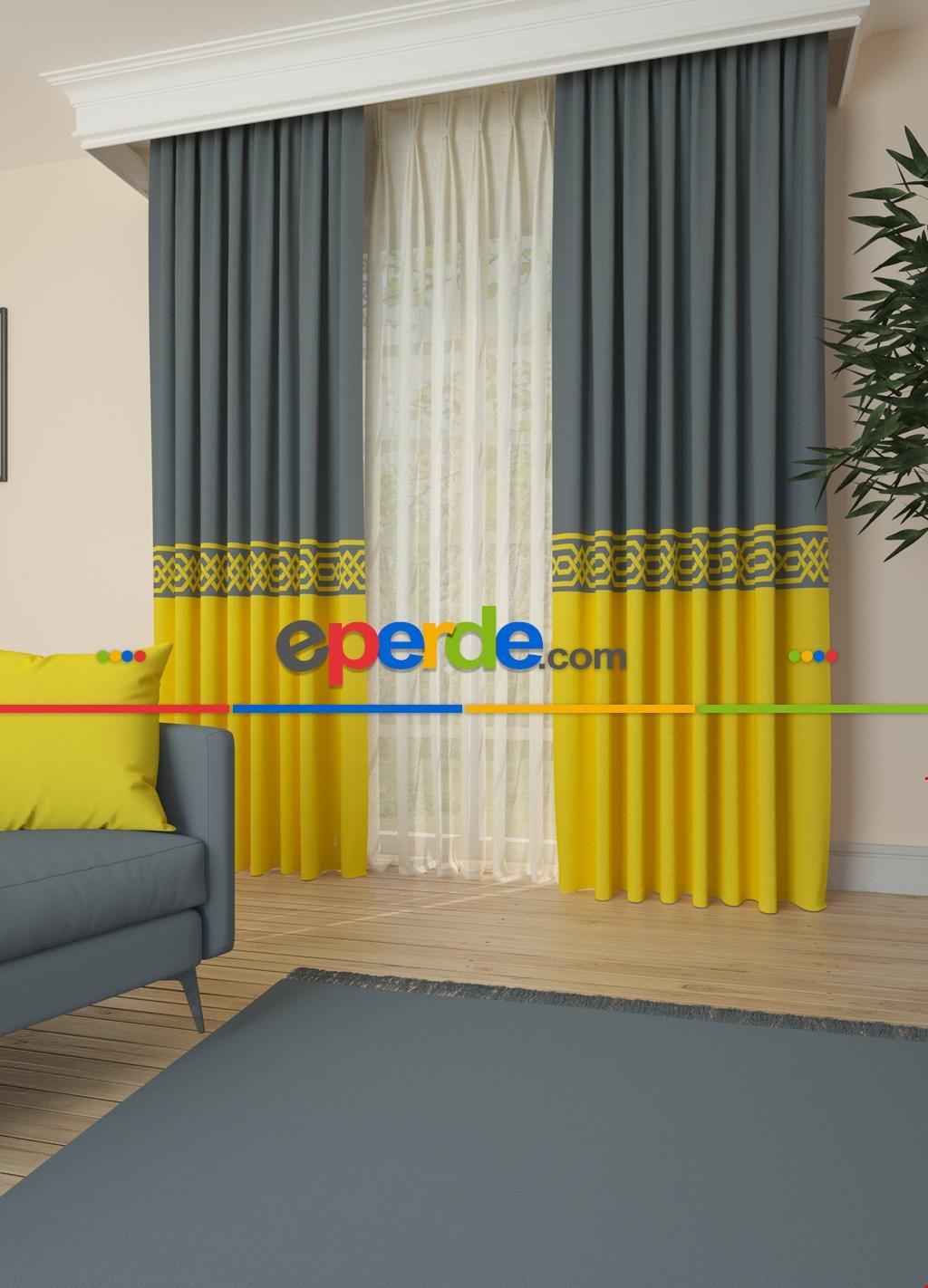 Mavimsi Gri Sarı Bordürlü Pano Fon Perde 1. Kalite Çok Dökümlü - Salon - Yatak Odası - Oturma Odası