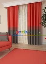 Gri Bordürlü Pano Fon Perde 1. Kalite Çok Dökümlü - Salon - Yatak Odası - Oturma Odası Kırmızı