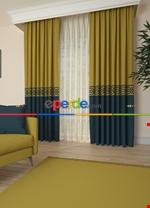 Gri Bordürlü Pano Fon Perde 1. Kalite Çok Dökümlü - Salon - Yatak Odası - Oturma Odası Yeşil