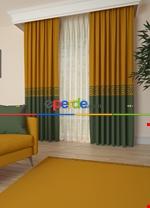 Gri Bordürlü Pano Fon Perde 1. Kalite Çok Dökümlü - Salon - Yatak Odası - Oturma Odası Yeşil - Taba