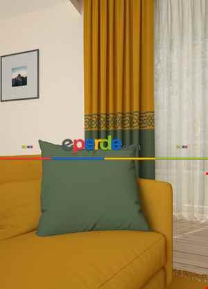 Taba Yeşil Bordürlü Pano Fon Perde 1. Kalite Çok Dökümlü - Salon - Yatak Odası - Oturma Odası
