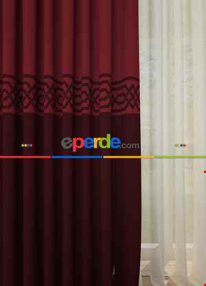 Blackout Kumaştan Bordo Bordürlü Pano Fon Perde 1. Kalite - Salon - Yatak Odası - Oturma Odası