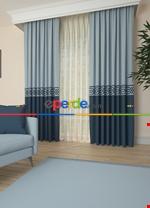 Gri Bordürlü Pano Fon Perde 1. Kalite Çok Dökümlü - Salon - Yatak Odası - Oturma Odası Lacivert - Mavi