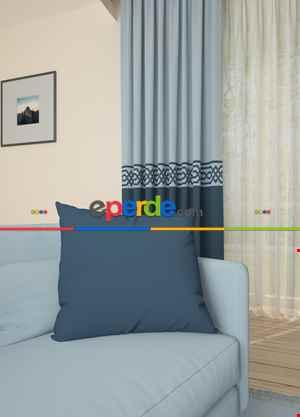 Açık Mavi Lacivert Bordürlü Pano Fon Perde 1. Kalite Çok Dökümlü - Salon - Yatak Odası - Oturma Odası