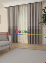 Gri Bordürlü Pano Fon Perde 1. Kalite Çok Dökümlü - Salon - Yatak Odası - Oturma Odası Çok Renkli