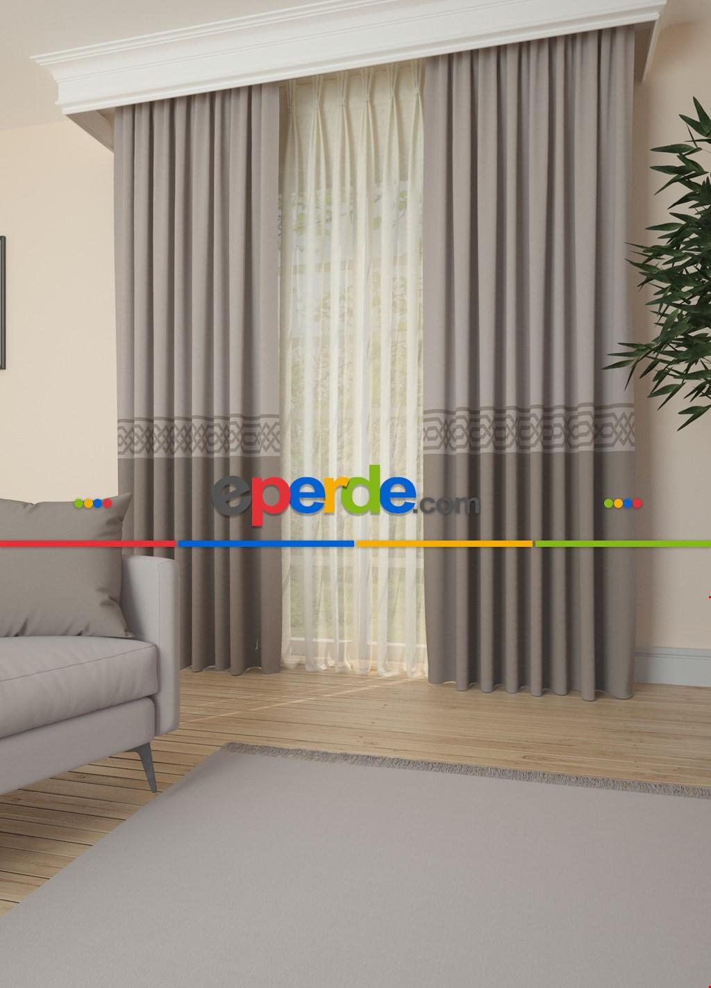 Açık Gri Bordürlü Pano Fon Perde 1. Kalite Çok Dökümlü - Salon - Yatak Odası - Oturma Odası