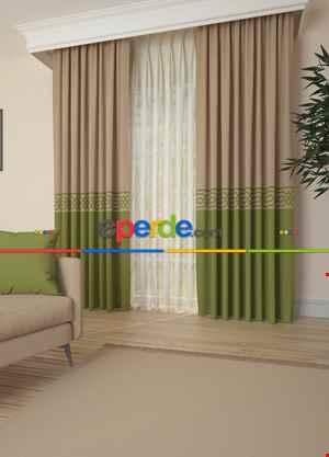 Bej Yeşil Bordürlü Pano Fon Perde 1. Kalite Çok Dökümlü - Salon - Yatak Odası - Oturma Odası