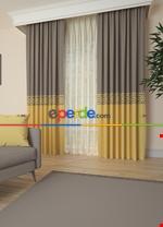 Gri Bordürlü Pano Fon Perde 1. Kalite Çok Dökümlü - Salon - Yatak Odası - Oturma Odası Sarı