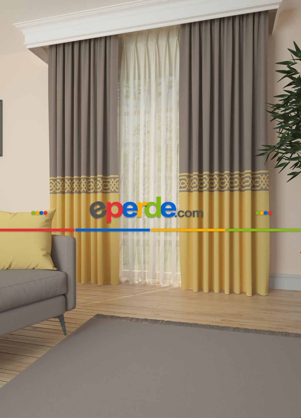 Blackout Kumaştan Açık Vizon Sarı Bordürlü Pano Fon Perde 1. Kalite - Salon - Yatak Odası - Oturma Odası