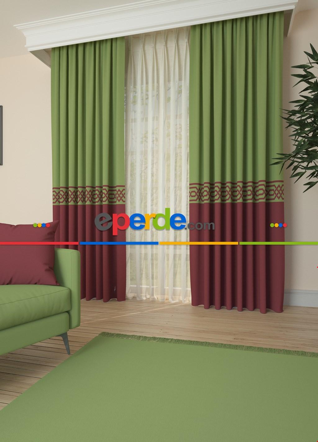 Yeşil Açık Bordo Bordürlü Pano Fon Perde 1. Kalite Çok Dökümlü - Salon - Yatak Odası - Oturma Odası
