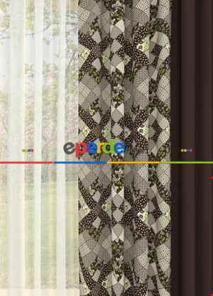 Kahverengi Modern Desenli Kombinli Baskılı Fon Perde 1. Kalite Çok Dökümlü Kumaş
