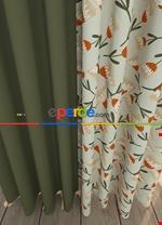Haki Çiçek Desenli Baskılı Fon Perde Geniş En Kombinli 1. Kalite Çok Dökümlü Yeşil - Haki - Turuncu