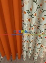 Haki Çiçek Desenli Baskılı Fon Perde Geniş En Kombinli 1. Kalite Çok Dökümlü Yeşil - Turuncu