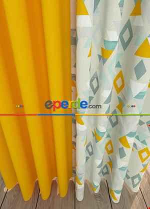 Geometrik Desenli Sarı Kombinli Geniş En Fon Perde 1. Kalite Çok Dökümlü