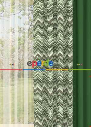 Yeşil Zikzak Desenli Kombinli Geniş En Fon Perde 1. Kalite Çok Dökümlü