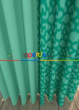Blackout Kumaştan Geometrik Etnik Desenli Mint Yeşil Kombinli Geniş En Fon Perde 1. Kalite