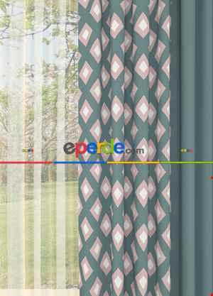 Geometrik Desenli Yeşil Kombinli Baskılı Geniş En Fon Perde 1. Kalite Çok Dökümlü