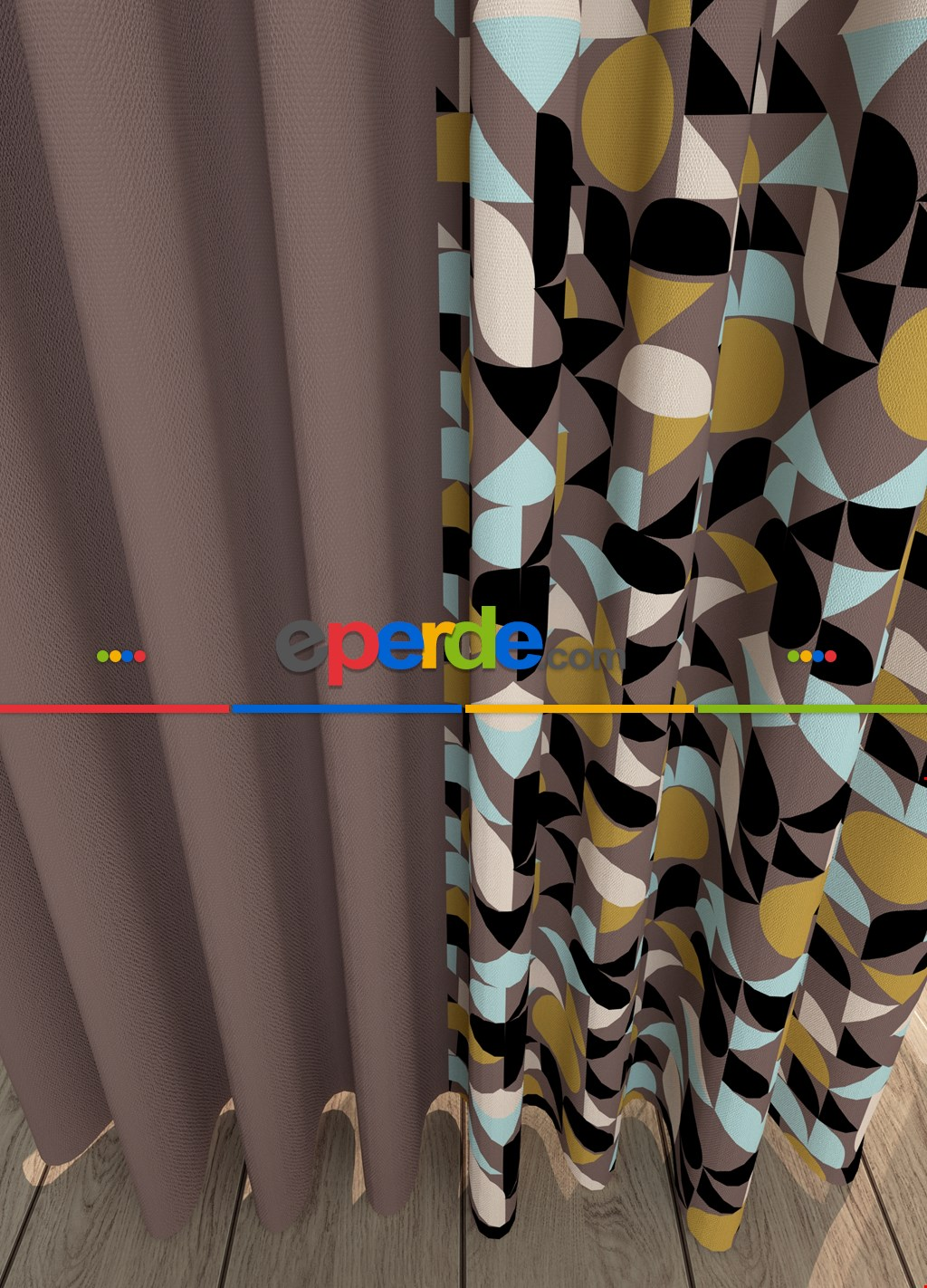 Vizon Geometrik Desenli Baskılı Fon Perde Geniş En Kombinli 1. Kalite Çok Dökümlü