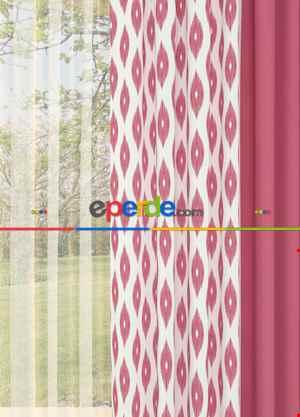 Pembe Geometrik Desenli Baskılı Fon Perde Geniş En Kombinli 1. Kalite Çok Dökümlü