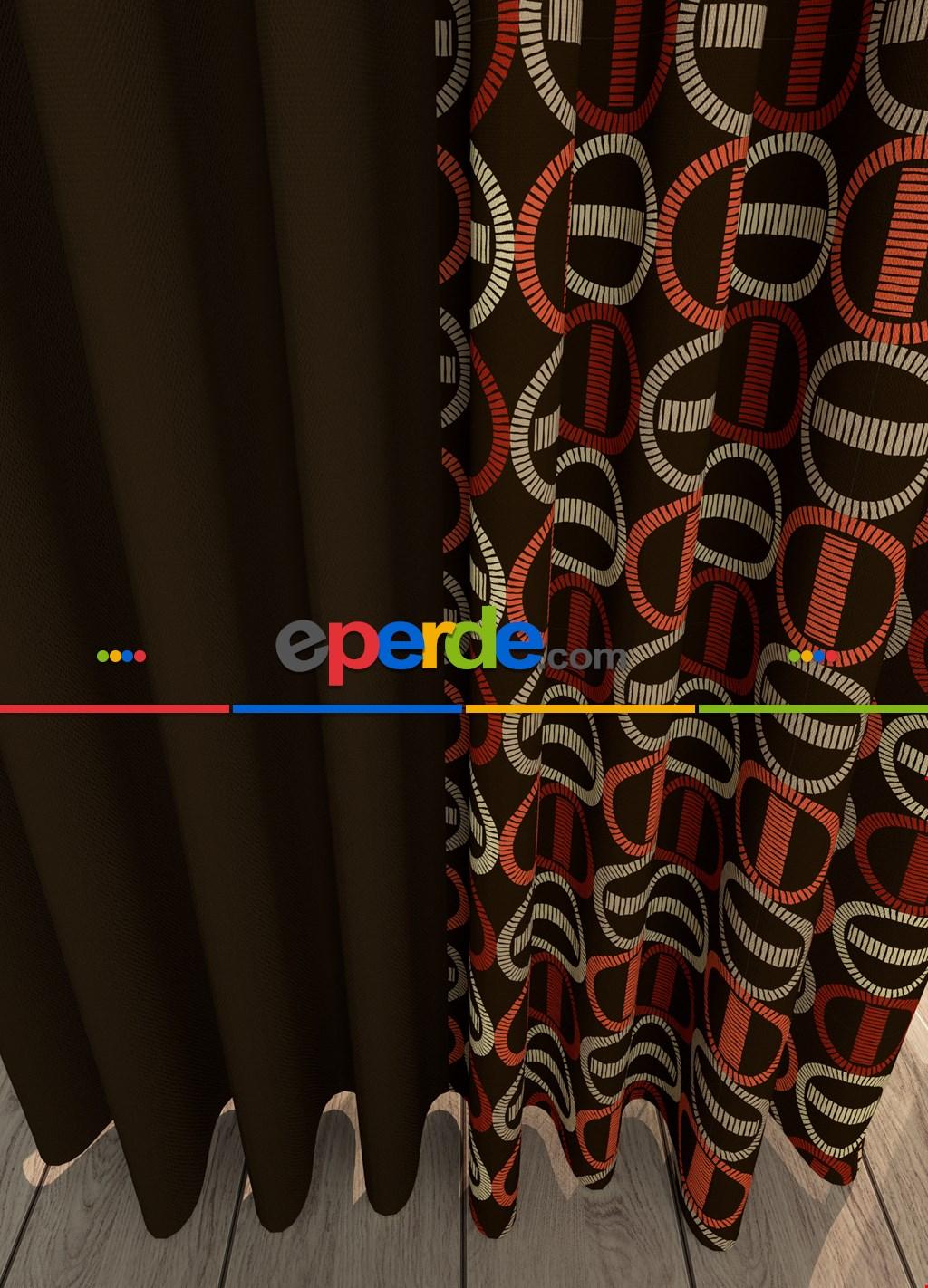 Kahverengi Modern Desenli Baskılı Fon Perde Geniş En Kombinli 1. Kalite Çok Dökümlü