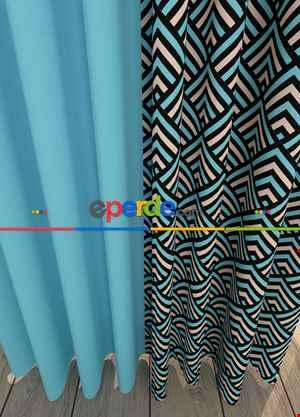 Blackout Kumaştan Mavi Geometrik Desenli Baskılı Fon Perde Geniş En Kombinli 1. Kalite
