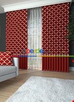 Blackout Kumaştan Kızıl Turuncu 346 Üstü Modern Desenli Kombinli Fon Perde 1. Kalite Kırmızı